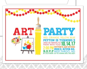 Art Party Birthday Invitation and envelope, Painting Party Invite, Art Party, Modern Artists Invite, Art Birthday Party, Art in the Park