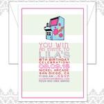 File Girl Arcade Birthday Party Invite, Girls Arcade Party, Pink Arcade Birthday Invite, Modern Arcade Invitation, Kids Modern Game Invitati