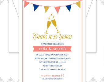 modern anniversary party invitation 10 year anniversary etsy