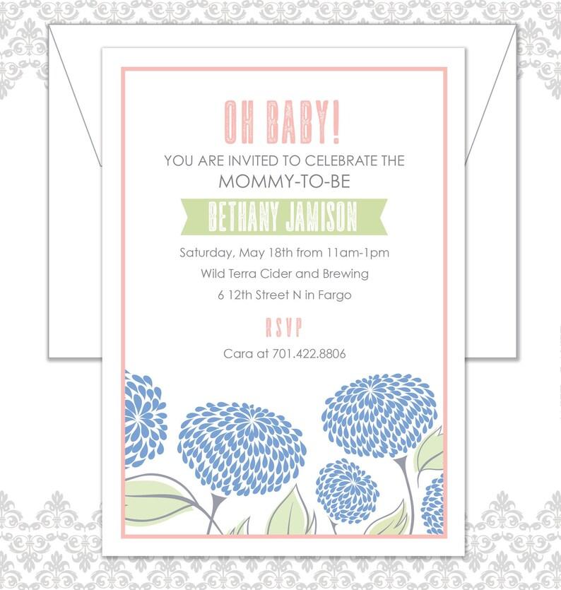 Flower Baby Shower Invite Spring Baby Shower Invite Floral image 0