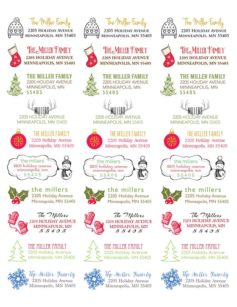 120 Return Address Labels Winter address labels Holiday image 0