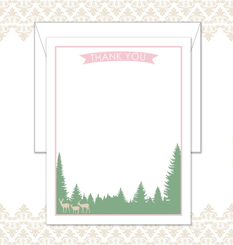 Deer Family Stationery Set of 10 includes envelopes Tree image 0