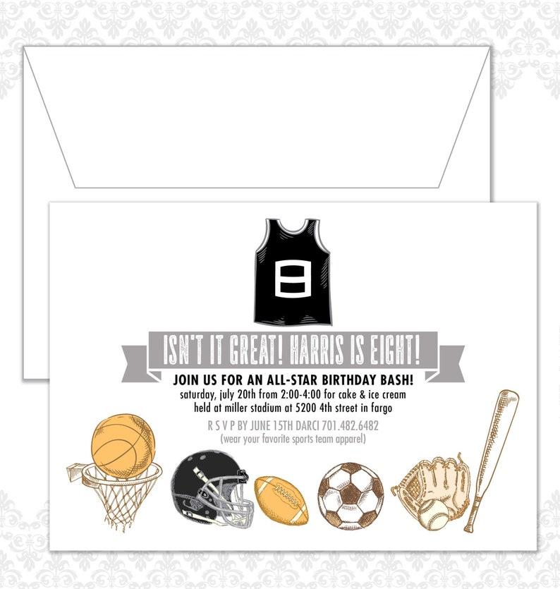 Sports Birthday Invite Football Soccer Basketball image 0