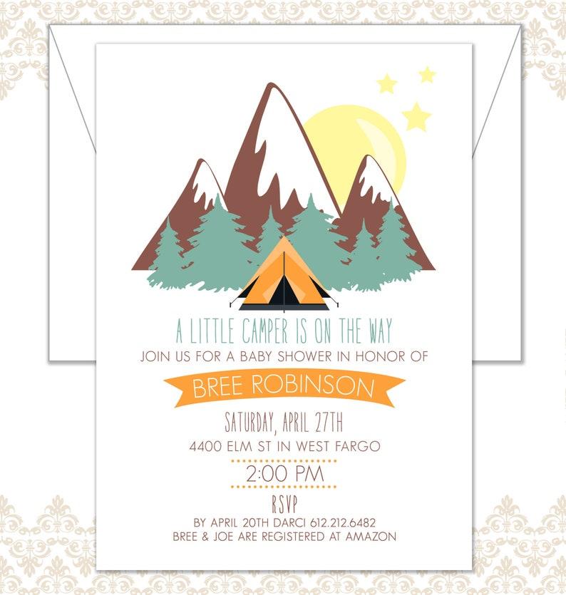 Little Camper Baby Shower Invite Woodland shower evergreens image 0