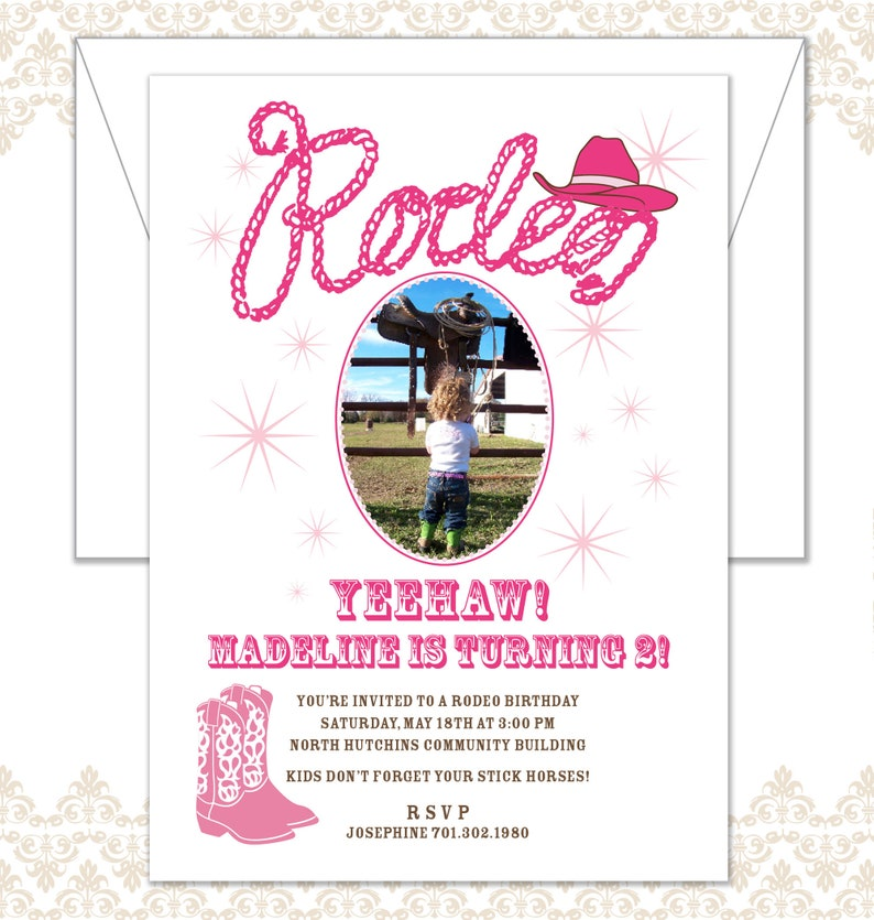 Rodeo Birthday Invite Cowgirl Party Invite Yeehaw Western image 0