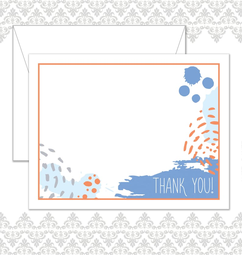 Abstract Stationery Set of 20 with envelopes Splattered image 0