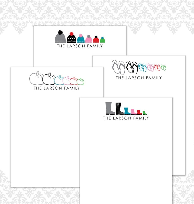 Seasonal Custom Family Stationery Set of 16 Family image 0