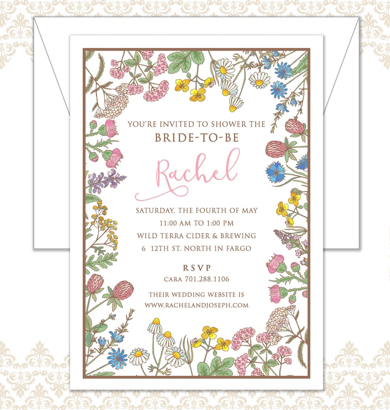 Wildflower Shower Invite Spring Shower Invite Floral Shower image 0
