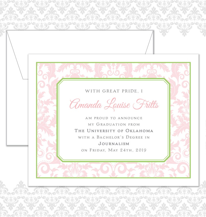 Damask Graduation Announcement College Graduate Announcement image 0