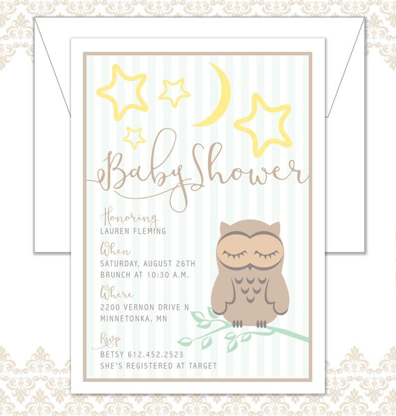 Baby Owl Shower Invitation Baby Shower Invite Sleeping Owl image 0