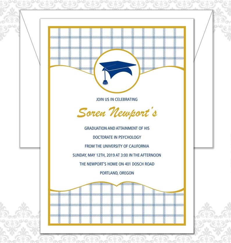 Plaid Graduation Announcement Patterned Grad Invite image 0