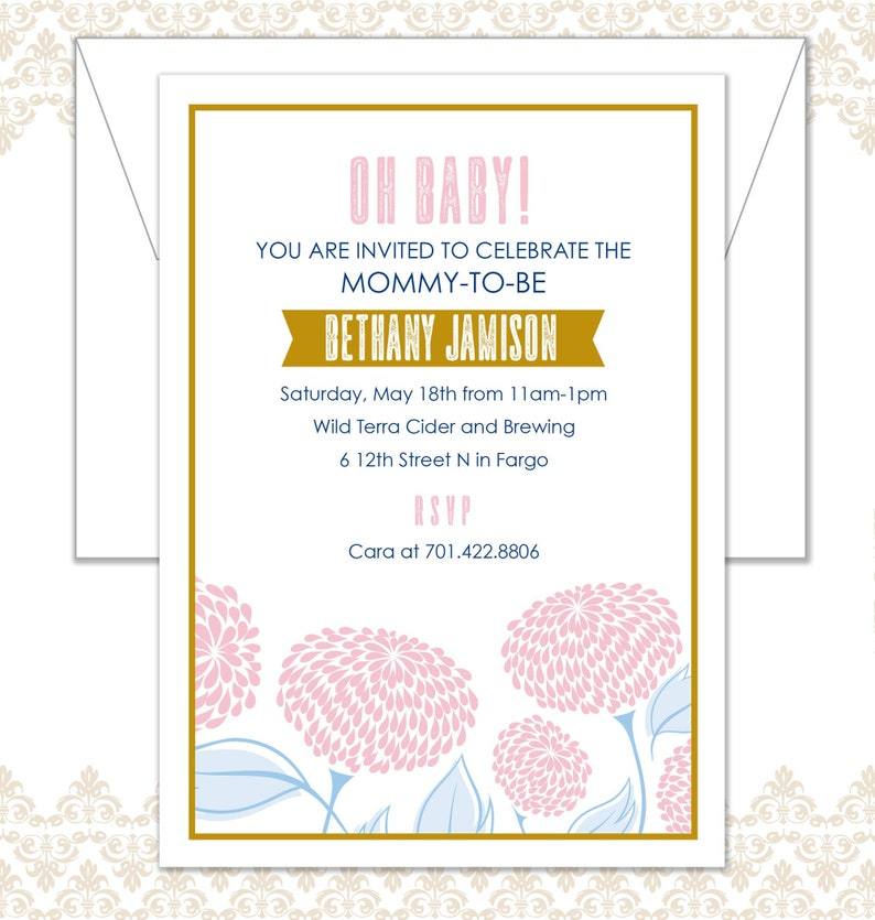 Flower Baby Shower Invite Spring Baby Shower Invite Floral image 0