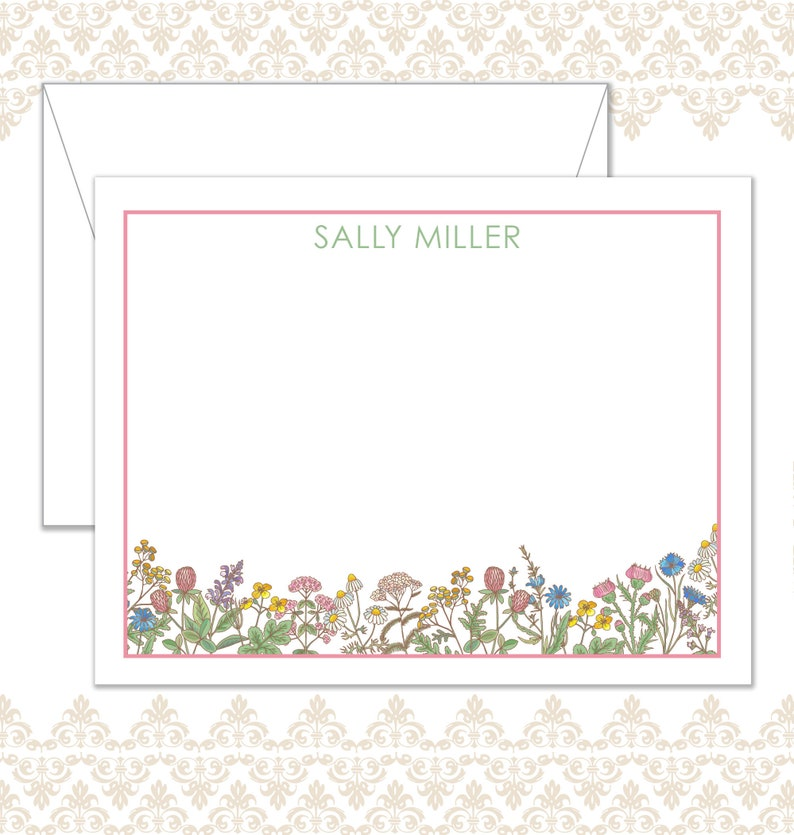 Wildflower Stationery Set of 10 with envelopes Custom image 0