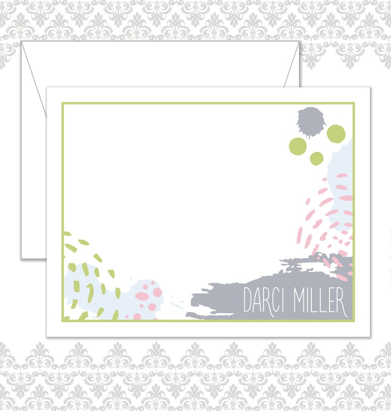 Abstract Stationery Set of 10 with envelopes Splattered image 0