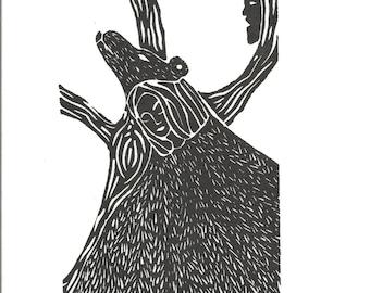 Hibernation A Linoleum Block Print on Kozo Paper