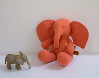 Handmade Baby Elephant stuffed animal doll upcycled eco toy orange soft fabric doll nursery decor Baby shower gift idea bubynoa Best Friend