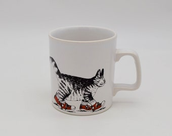 Vintage Kiln Craft B. Kliban Cat in sneakers Mug, 1970s Bernard Kliban Cat in red sneakers original mug, Vintage Staffordshire potteries mug