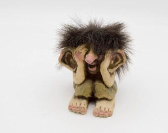 Vintage Norwegian Troll Figurine, Nyform Shy Troll model 177, vintage Nyform seated troll