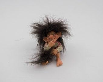 Vintage Norwegian Troll Figurine, Candy Designs curios Troll, vintage Candy Design seated troll Made in Norway