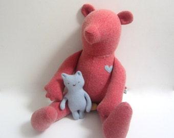 Handmade stuffed Bear doll upcycled Heirloom Teddy Bear Pink Salmon vintage wool soft fabric doll Baby shower gift bubynoa Best Friend