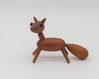 Vintage wooden fox, Mid Century Modern wooden fox figurine, Japanese wooden animal, Royal Pet Japan style, Scandinavian style wood animal