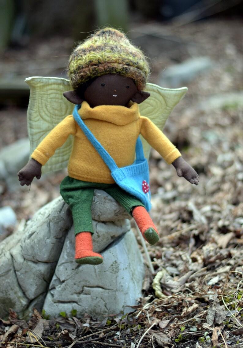 Black Girl doll Fairy fabric rag doll handmade african image 0