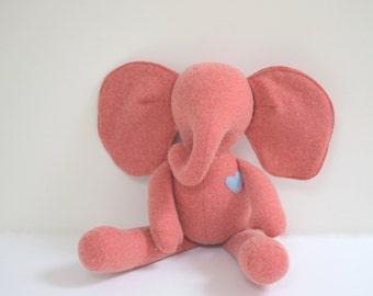 Handmade Elephant stuffed doll Heirloom gift eco toy Salmon pink vintage wool soft fabric doll Baby shower gift idea bubynoa Best Friend