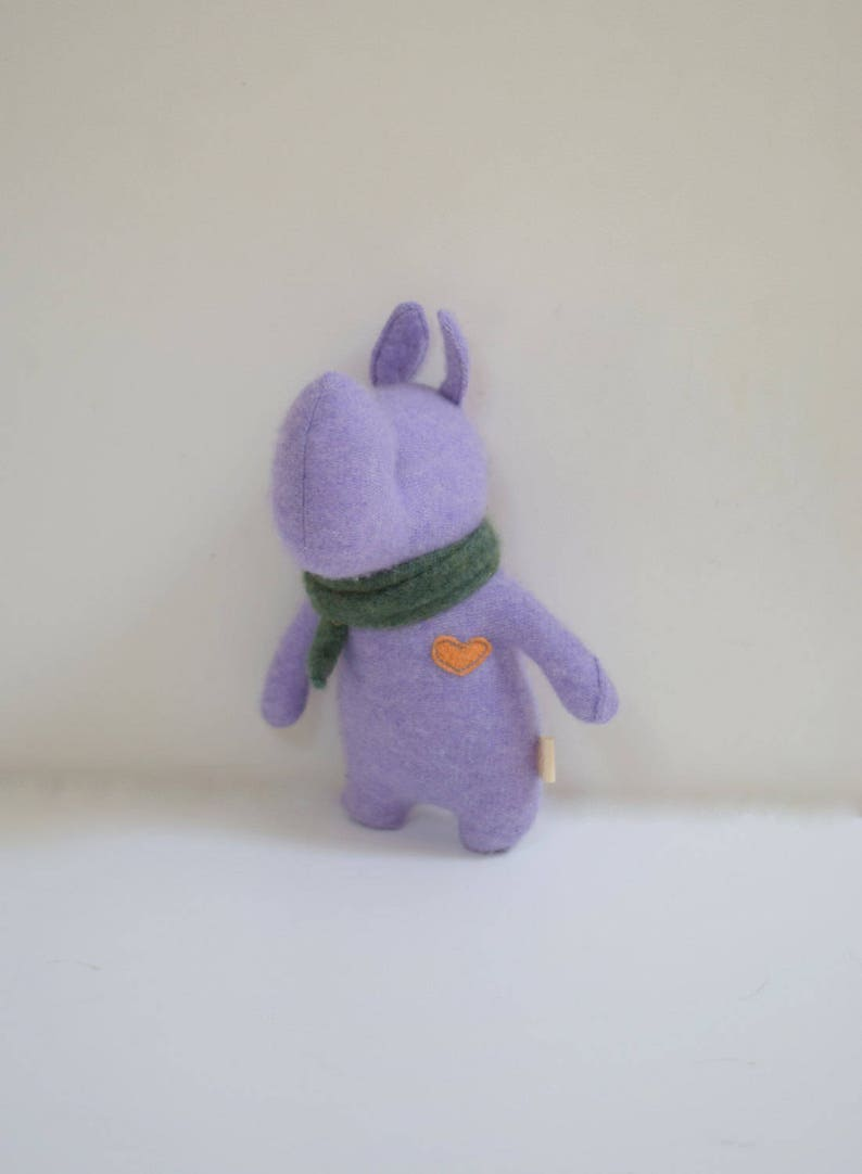 Handmade Rhino stuffed small animal OOAK purple Rhino doll eco image 0