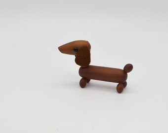 Vintage wooden dog, MCM wooden Dachshund dog figurine, Japanese wooden animal, Royal Pet Japan style, Scandinavian style wood animal