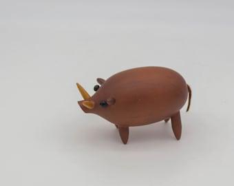 Vintage wooden Wild Boar, Mid Century Modern wooden wild hog figurine, Japanese wooden animal, Scandinavian style wood animal