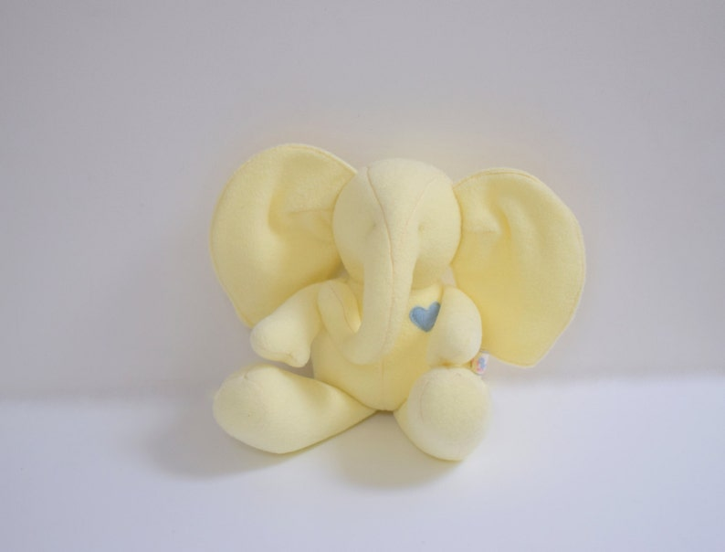 Handmade Baby Elephant stuffed doll upcycled eco toy Yellow image 0