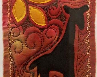Orange Giraffe mini art quilt