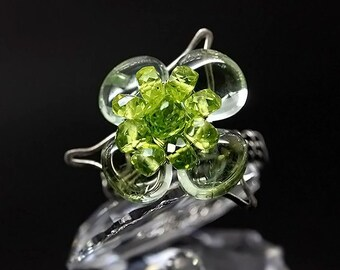 Unique ring for women Peridot ring Prasiolite clover gemstone ring Unique gift for her Sterling silver ring Green amethyst Mori girl jewelry