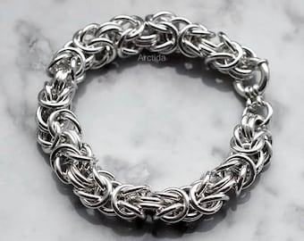 Mens jewelry Mens bracelet massive Byzantine chainmaille bracelet sterling silver bracelet for men - heavy chain sexy male industrial design