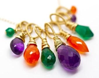 Gemstone necklace for women Agate Amethyst Carnelian multi gemstone jewelry Personalized gift for her Birthstone jewelry necklace for mom
