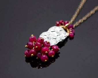 Ruby necklace Ruby jewelry Gemstone necklace for women Unique gift for her mixed metal silver gold Heart jewelry July Birthstone necklace