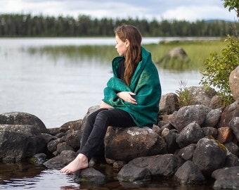 Silk and Merino wool shawl Luxury Emerald green wrap Unique gift for her Warm soft cozy Nuno felted stole Eco Fashion Fiber art accessory