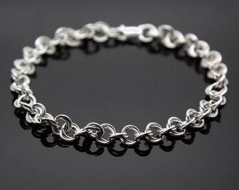 Mens bracelet silver bracelet for men Sterling silver Mens gift for him Rope chain spiral DNA Norse Viking bracelet Men jewelry gift for men