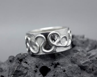 Unique ring for women Celtic ring Viking ring Alternative wedding band Norse promise ring Argentium sterling silver wide band gift for her