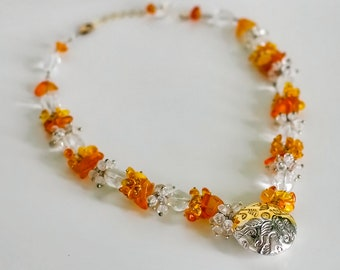 Amber necklace for women Amber earring Estate jewelry unique gift for her Amber Quartz cluster necklace Silver gold gemstone jewelry set