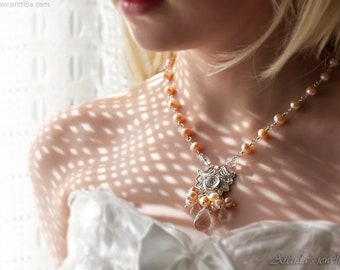 Real Pearl necklace for woman Estate jewelry Rock Crystal Clear Quartz Unique bridal necklace Fairy bridal jewelry Pagan wedding necklace