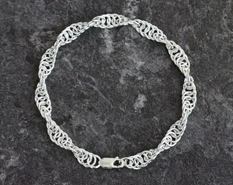 Mens bracelet silver bracelet for men Sterling silver rope chain Mens gift for him spiral DNA Viking bracelet Men jewelry gift for boyfriend