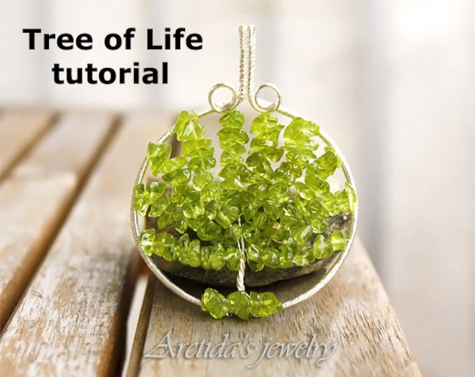 Wire pendant tutorial PDF Jewelry tutorial Wire wrapping tutorial Tree of Life DIY necklace tutorial beaded pattern Wire wrap tutorial