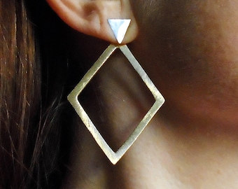 Sterling Silver-Gold-Triangle-Diamond-Ear Jacket-Earrings / Free US Shipping