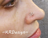 Silver Snake Nose Stud, Custom Nose Jewelry, Snake Nose Ring, Sterling Silver Nose Stud, Tragus Stud Earrings, Free US Shipping