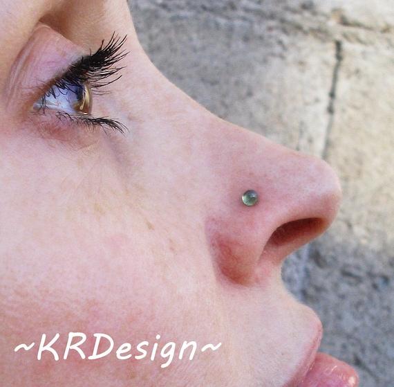 Peridot Nose Stud Silver Nose Stud Tragus Stud Earrings Etsy