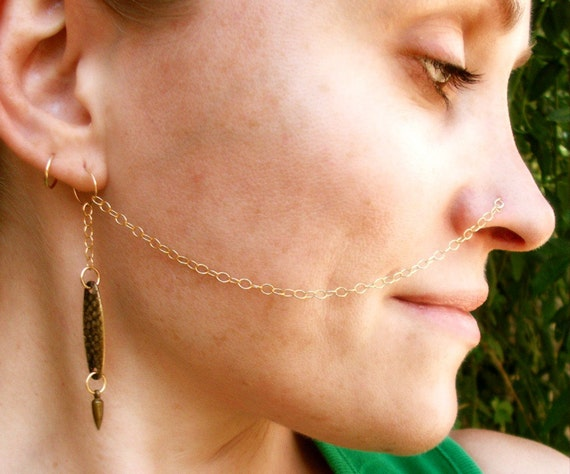 Gold Nose Chain Body Jewelry Nose Ring Nose Stud Charm Etsy
