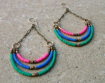 Recycled Vinyl-Chandelier-Hoop Earrings / Free US Shipping