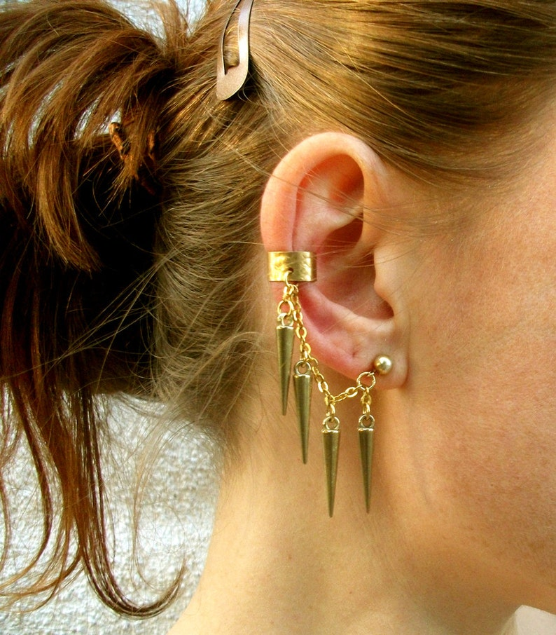 553bc1be030e7 Gold Spike Ear Cuff, Gold Ear Cuff, Stud Earrings, Post Earrings, Spike  Earrings, Free US Shiping