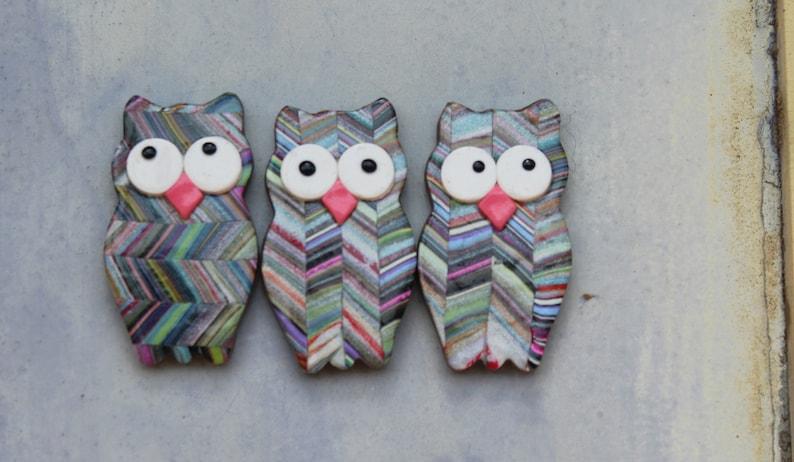 Set of 3 Owl Magnets